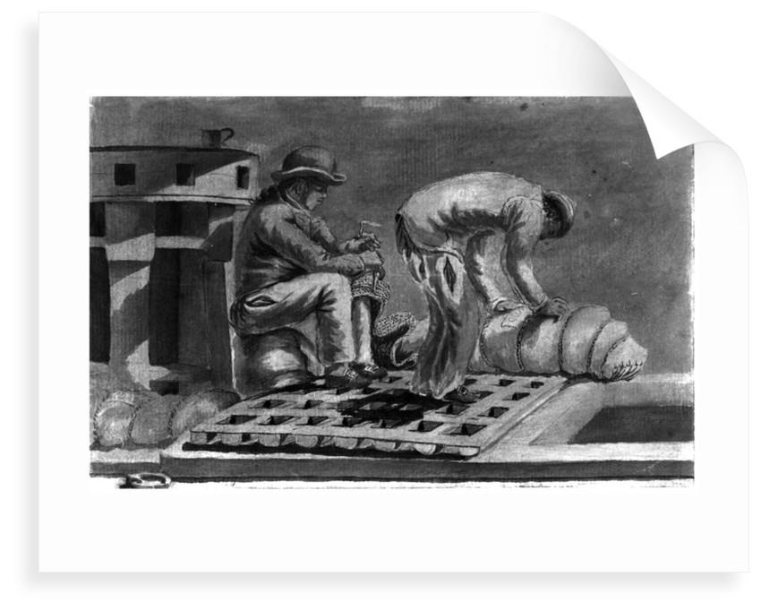 The sailmaker ticketing the hammocks on board 'Pallas' by Gabriel Bray