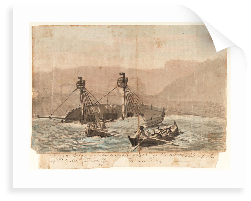 [The E]xpedition Brigg as she appeared wreck'd on the W[este]rn Point of the [island] of Sta Cruiz Teneriffe A[dV pr ]GB - December 1774 by Gabriel Bray