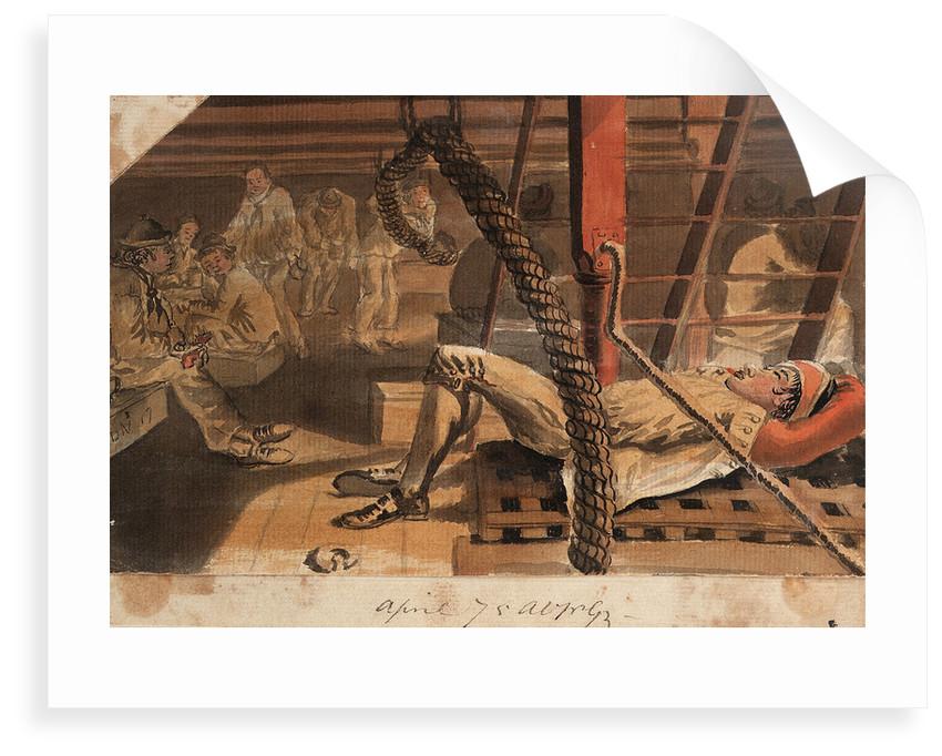 A Marine asleep beneath a companionway on the 'Pallas' by Gabriel Bray