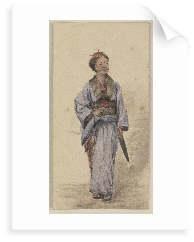 A Japanese girl with a parasol by James Henry Butt