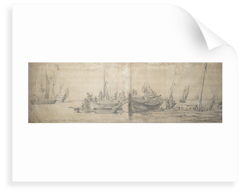 Two kaags ashore on the end of a hard by Willem van de Velde the Elder