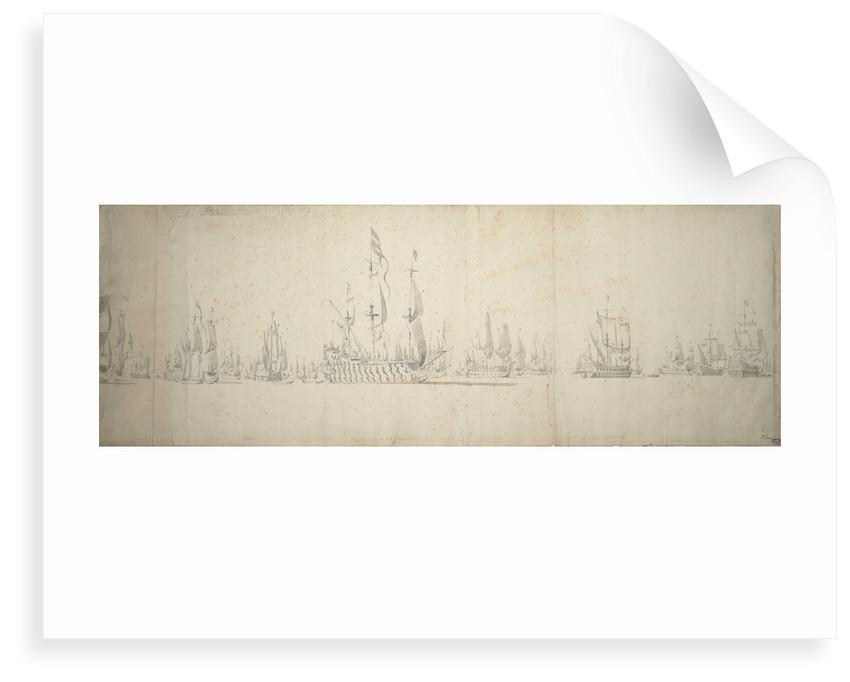 The day before the battle of Lowestoft, 2-12 June 1665 by Willem van de Velde the Elder
