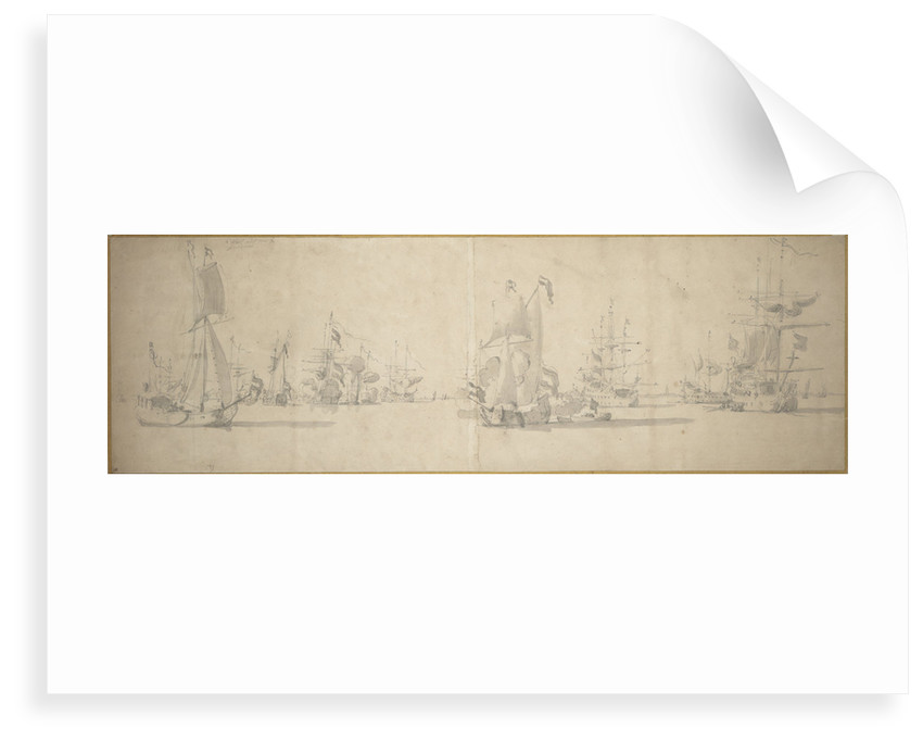 The Dutch fleet at anchor near the coast by Willem van de Velde the Elder