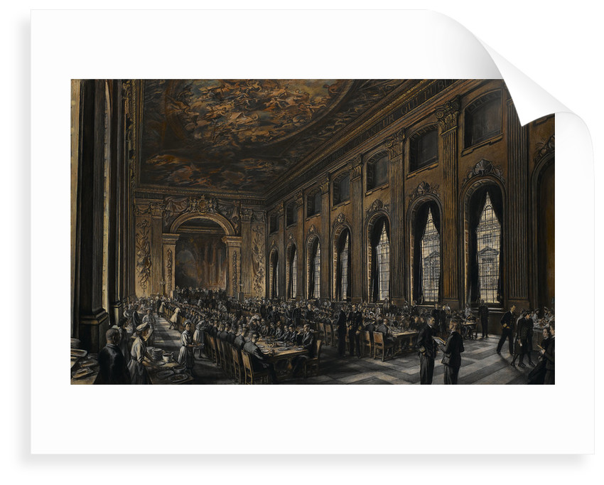 Officers dining in the Painted Hall during WWII by Muirhead Bone