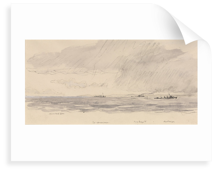 HMS 'King George V' at sea, edge of a storm by Muirhead Bone