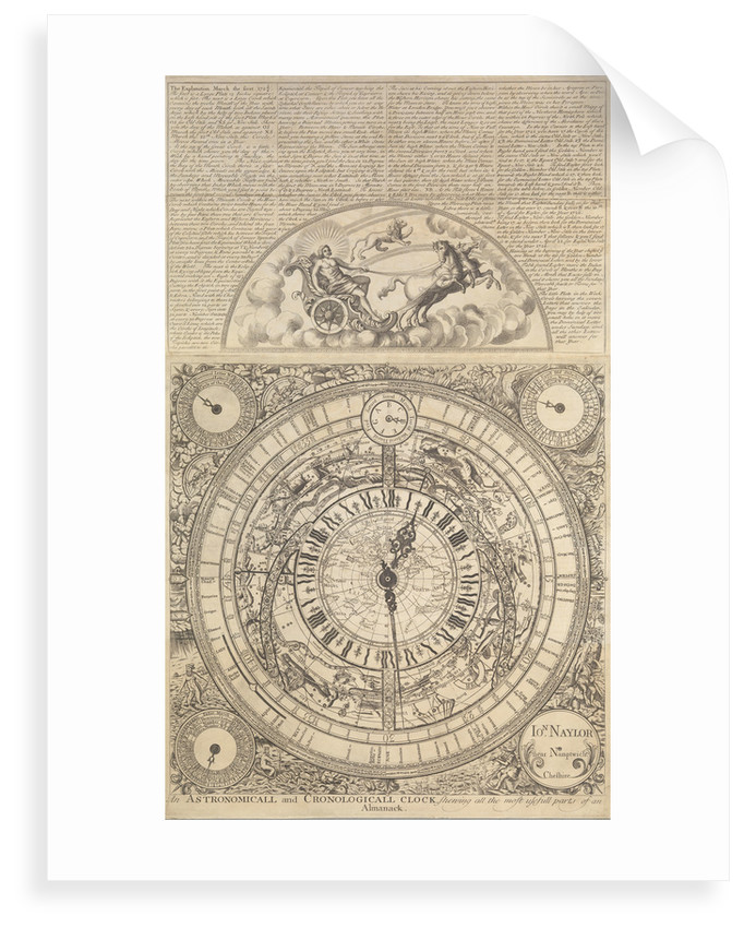 An Astronomical and Cronological Clock showing all the Most Usefull Parts of an Almanack by Jon Naylor