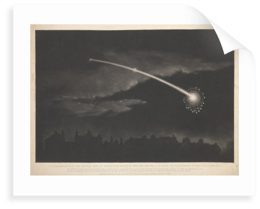 A representation of the meteor seen at Paddington about 12 minutes before 11 o'clock, on the evening of the 11 February 1850 by Matthew Cotes Wyatt