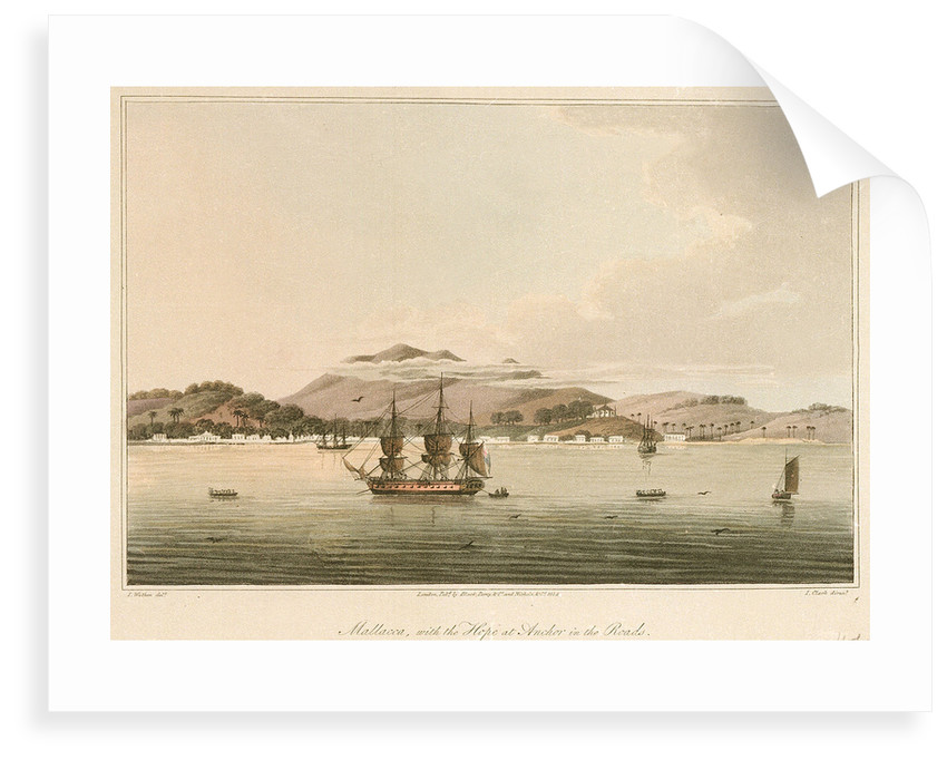 Mallacca, with the 'Hope' at anchor in the roads by James Wathen
