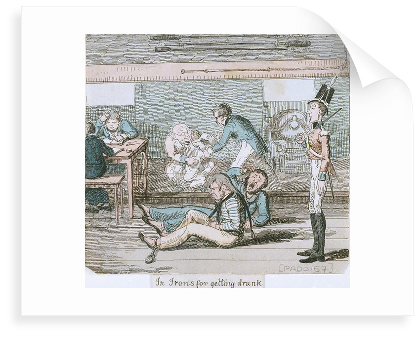 In Irons for getting drunk' from 'A Sailor's Progress by George Cruikshank