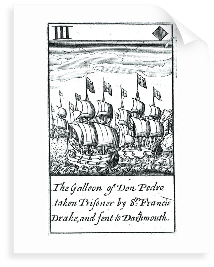 1588 Armada Playing Cards, III of Diamonds. 'The Galleon of Don Pedro taken Prisoner by Sr Francis Drake, and sent to Dartmouth' by unknown