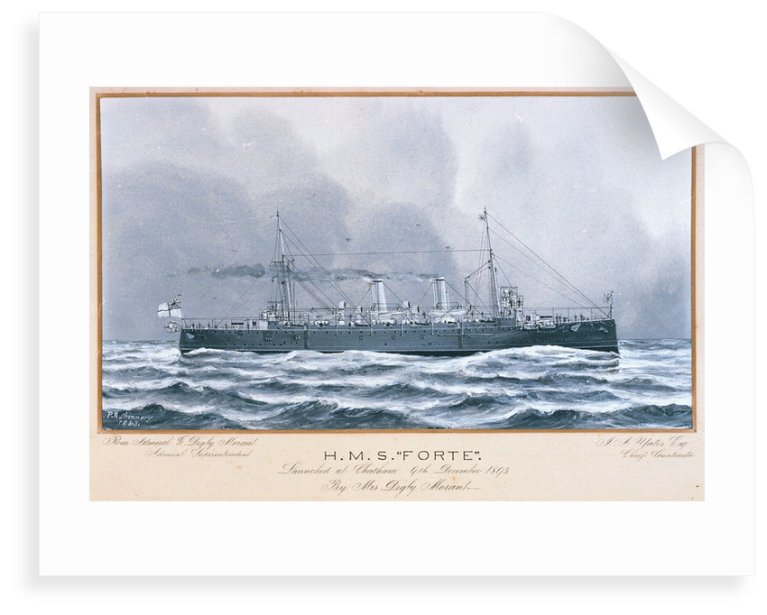 HMS 'Forte' launched at Chatham 9 December 1893 by P.A. Chinnery