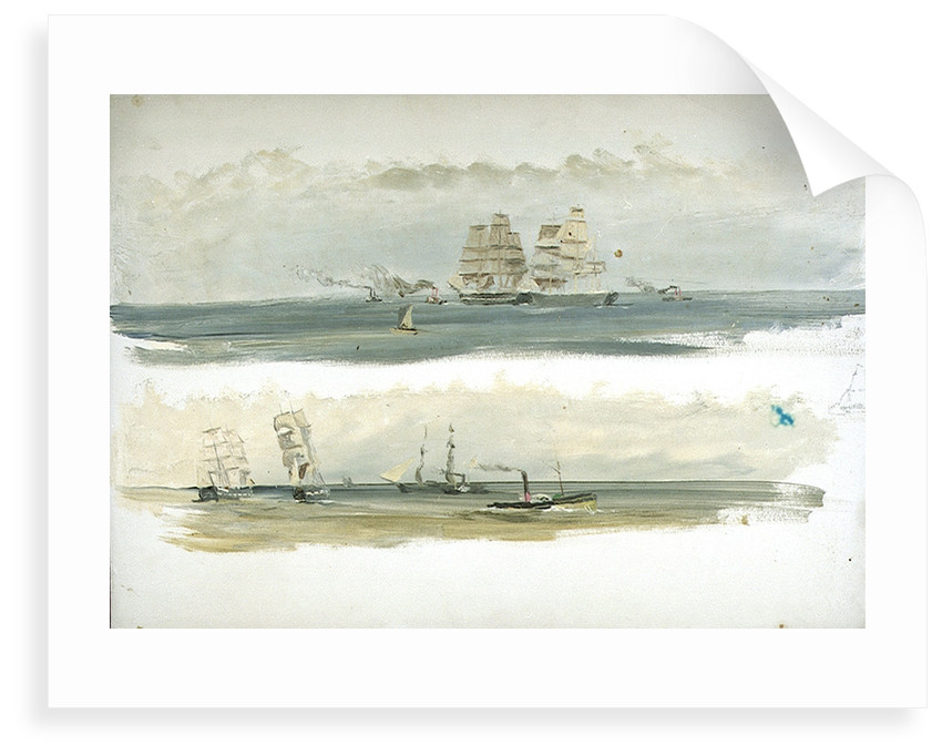 Two Studies of Ships and Tugs by William Lionel Wyllie