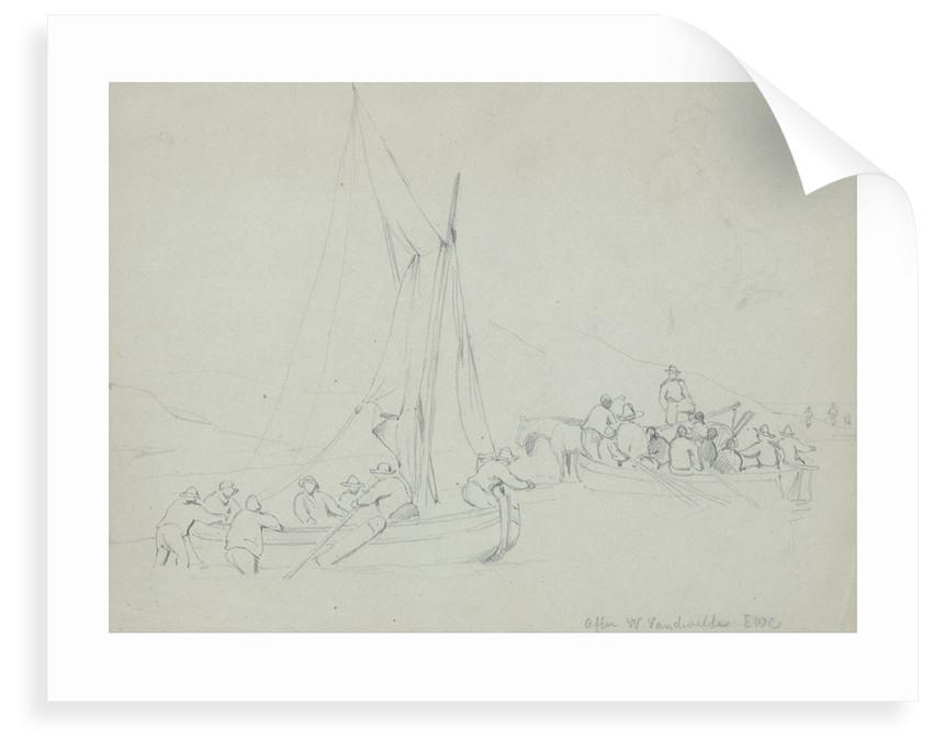 Men casting off in boats from the shore by Willem van de Velde the Elder