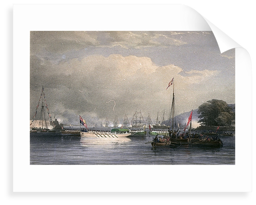 Her Majesty and Prince Albert, Proceeding in the State Barge to land at the Royal Dockyard, Devonport by Nicholas Condy