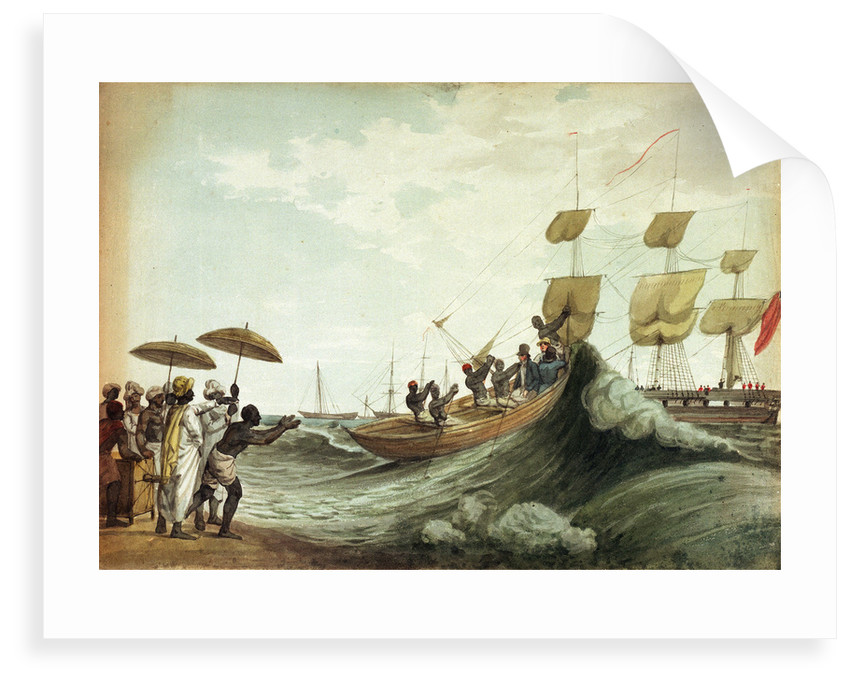 Ship's boat arriving on beach, Madras by unknown