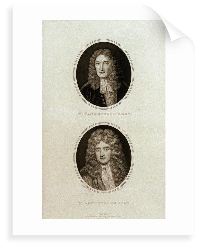Willem van de Velde, the Elder and the Younger by Godfrey Kneller