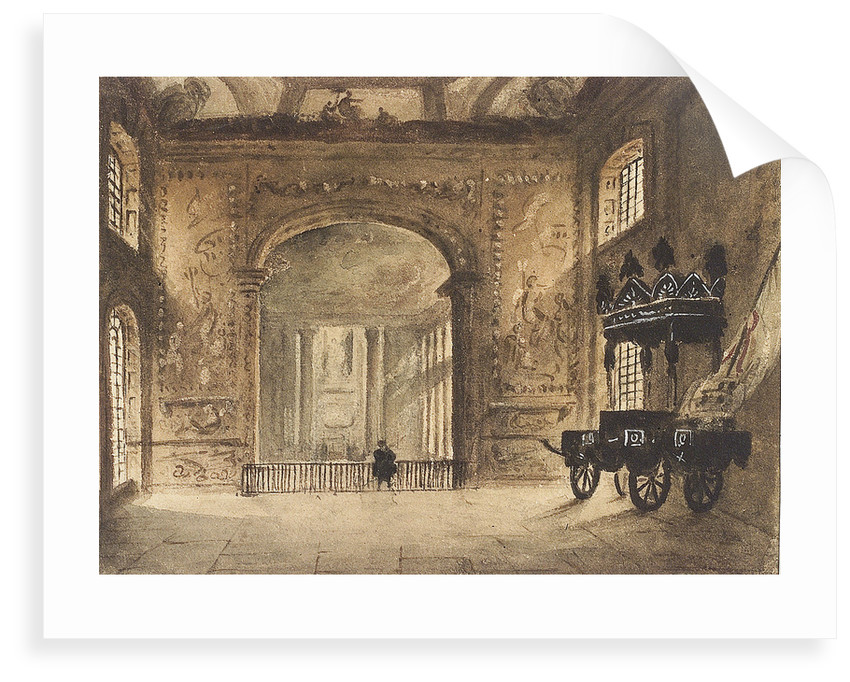 The Painted Hall Greenwich, from the Upper Hall, showing Nelson's funeral car by unknown