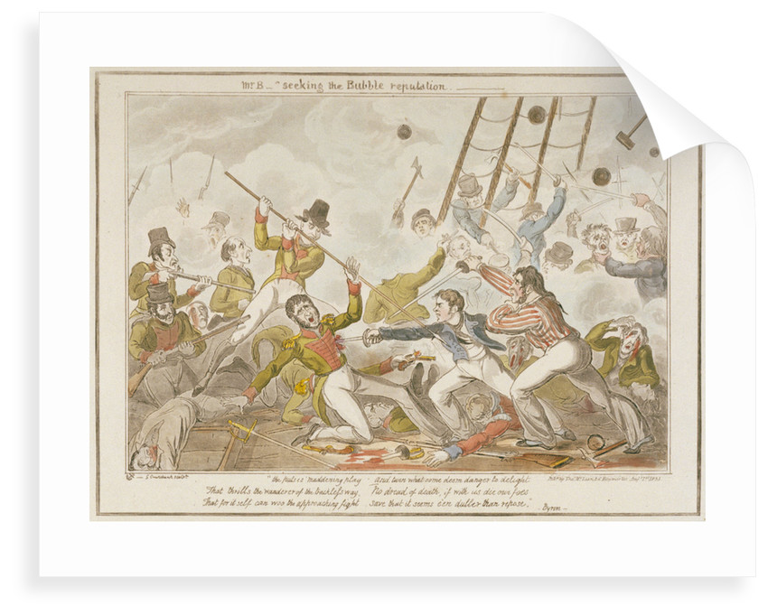 Midshipman Blockhead, Mr B seeking the Bubble reputation by George Cruikshank