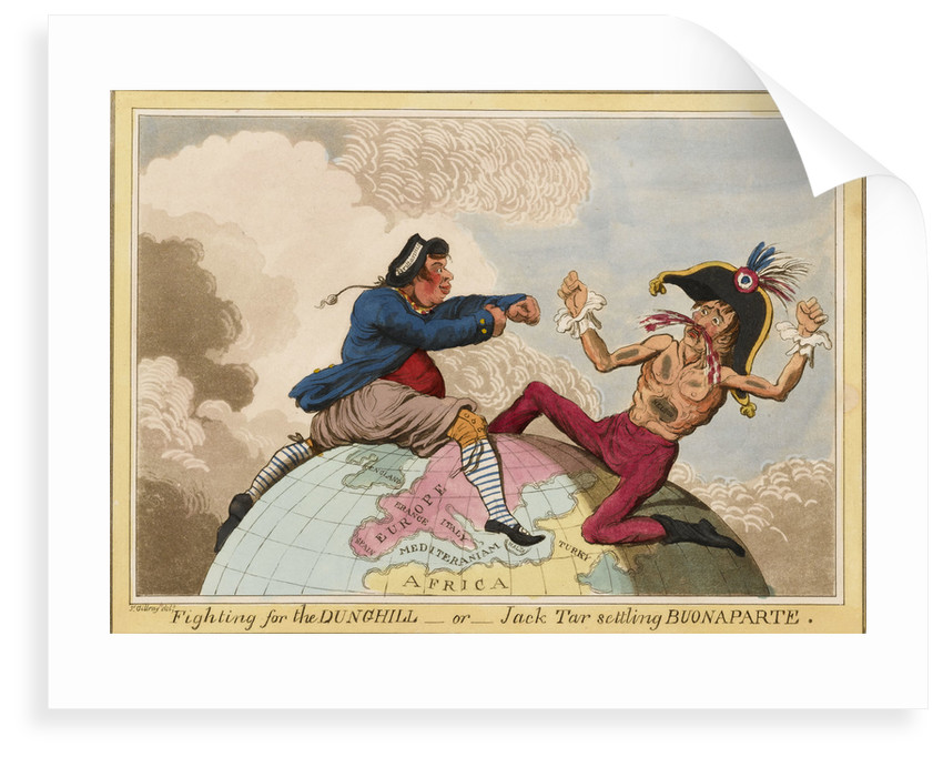 Fighting for the Dunghill, or, Jack Tar Setting Buonaparte by James Gillray