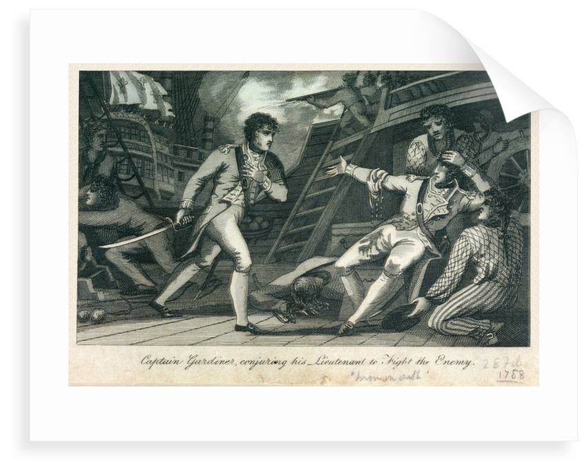 Captain Gardiner, conjuring his Lieutenant to Fight the Enemy' by James Cundee