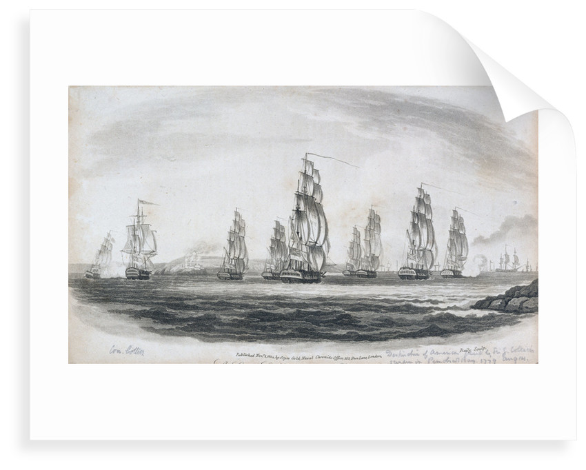 Destruction of American fleet by Sir G. Collier's squadron in Penobscot Bay, 14 August 1779 by Baily