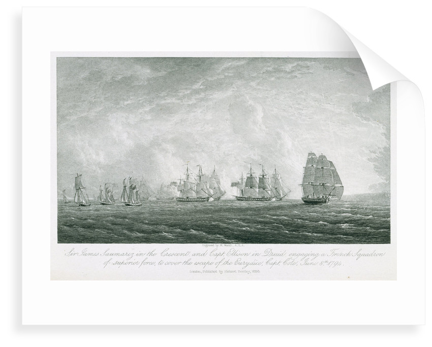 'Crescent' and 'Druid' engaging a French squadron to cover the escape of the 'Eurydice', 8 June 1794 by William Westall