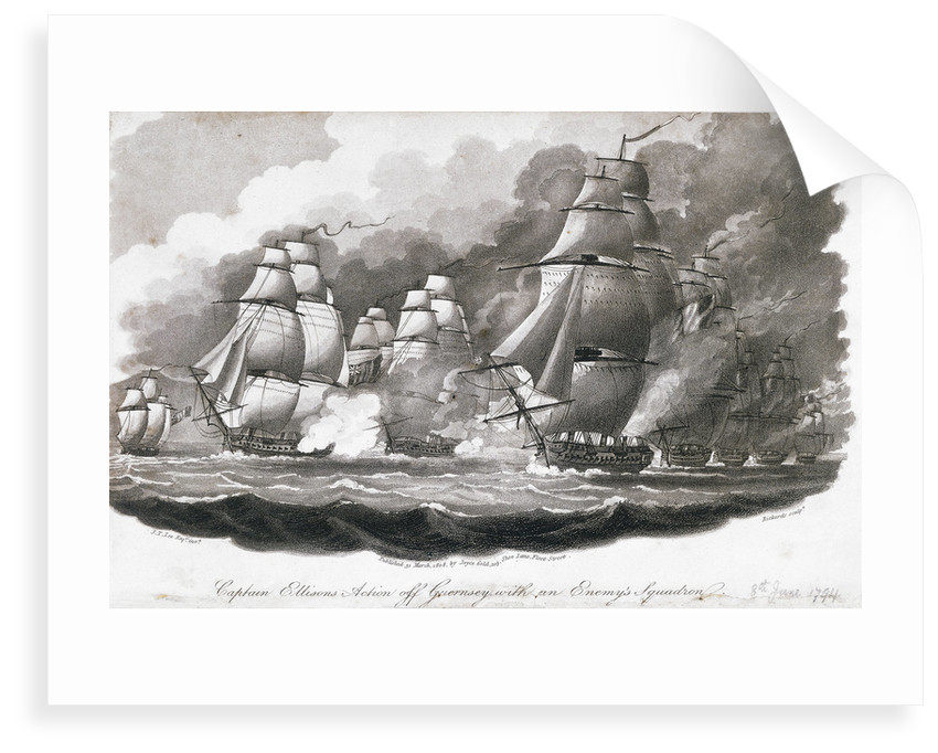 Captain Ellisons action off Guernsey with an enemy's squadron by John Theophilus Lee