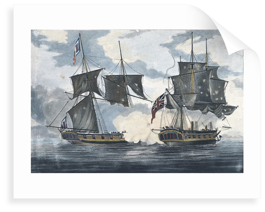 The 'Antilope Packet' beating off 'Le Atalante' a French privateer in the West Indies by William Elmes