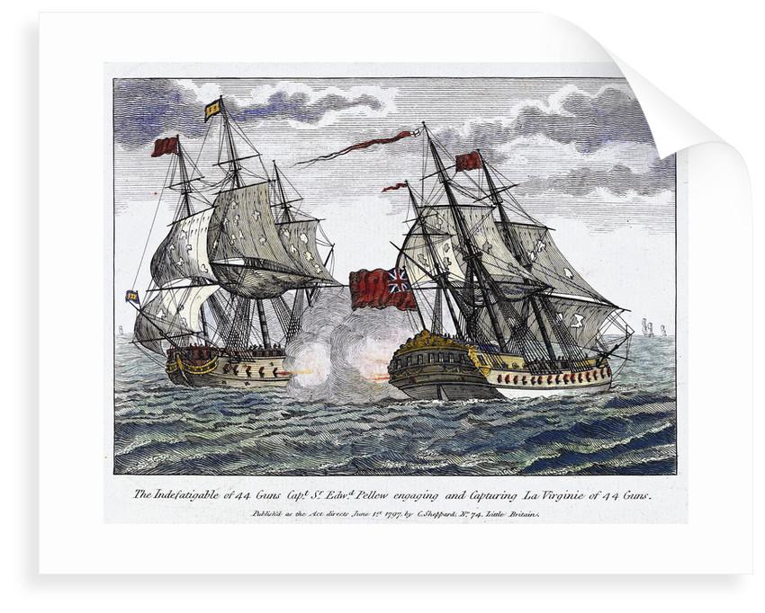 The 'Indefatigable' capturing 'La Virginie' by C. Sheppard