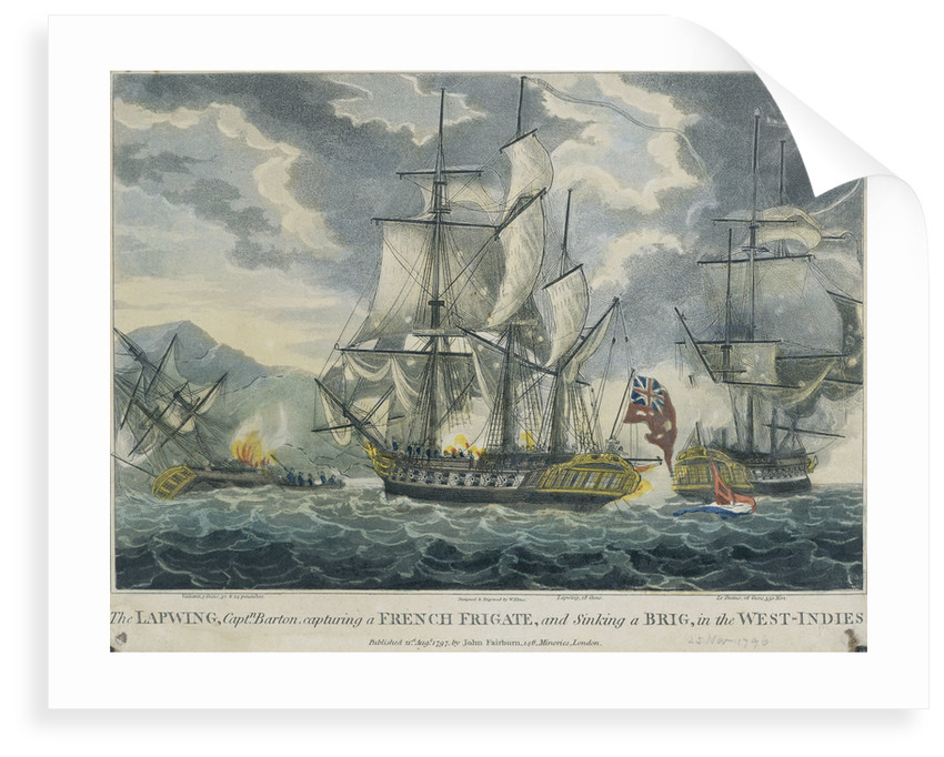 Captain Barton capturing a French frigate and sinking a brig in the West-Indies by William Elmes