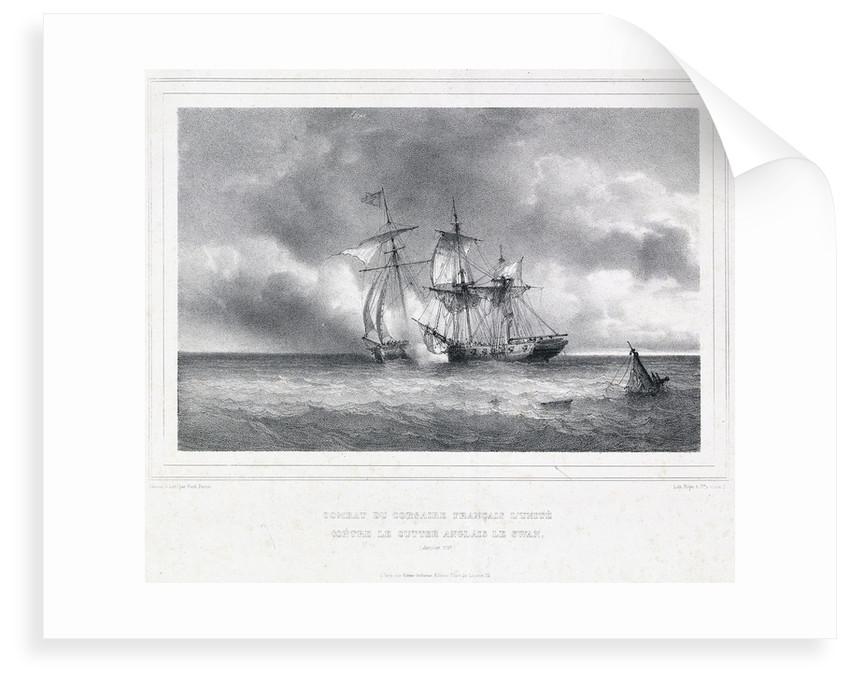 Combat du corsaire Francais L' Unite contre le cutter Anglais Le Swan (Janvier 1797) by Ferdinand Victor Perrot