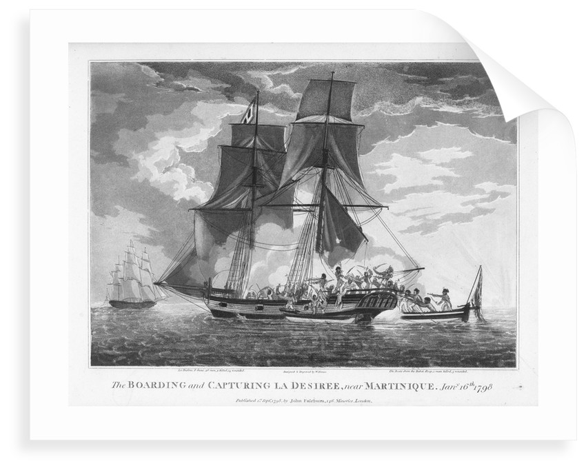The boarding and capturing of 'La Desiree' near Martinique, 16 January 1798 by William Elmes