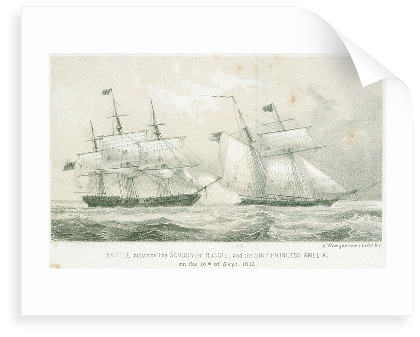 Battle between the schooner 'Rossie' and the 'Princess Amelia', 16 September 1812 by A. Weingartner