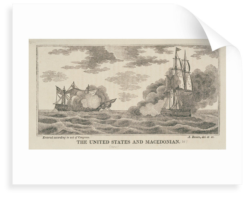 The 'United States' and 'Macedonian' in action, 1812 by Abel Bowen