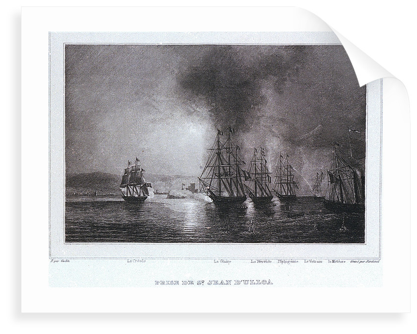 French squadron under De Joinville bombards St Juan de Ulloa in Mexico, 27 November 1838 by Gudin