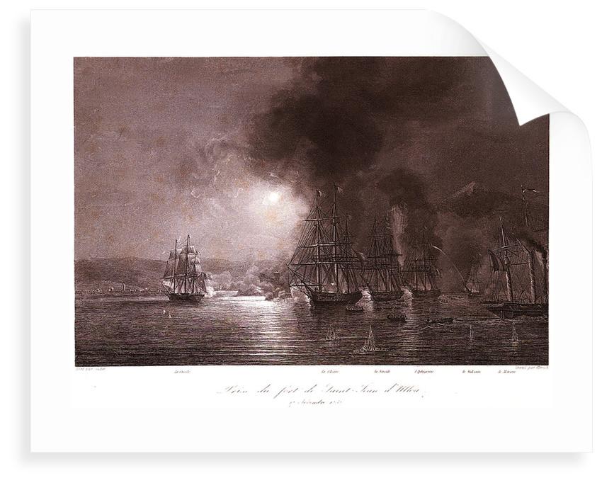 French squadron under De Joinville bombards St Juan de Ulloa in Mexico, 27 November 1838 by Gudin