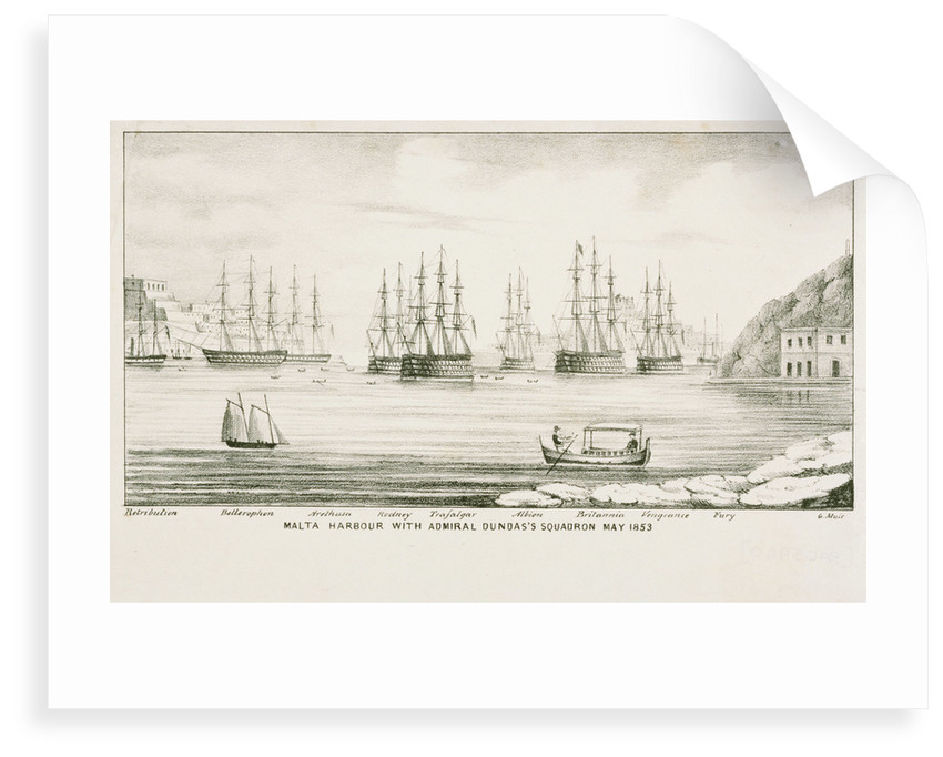 Malta harbour with Admiral Dundas's squadron, May 1853 by G. Muir