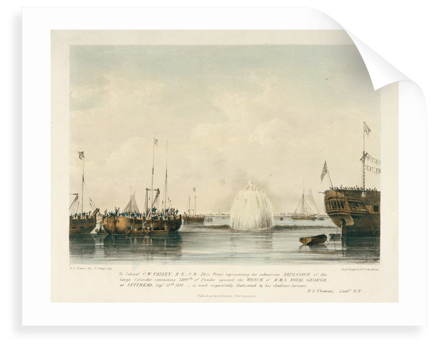 Explosion against the wreck of HMS 'St George', 23 September 1839 by Robert Strickland Thomas