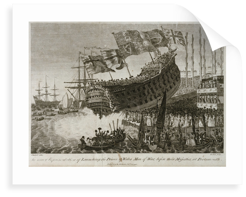 An exact Representation of Launching the Prince of Wales Man of War, before their Majesties, at Portsmouth' by Joshua Cristall