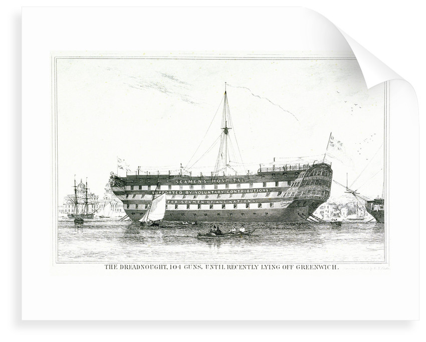 The Dreadnought, 104 guns, until recently lying off Greenwich by Edward William Cooke