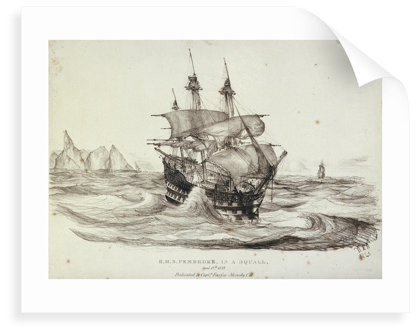 HMS 'Pembroke' in a squall, 12 April 1839 by W.H. Wardrop