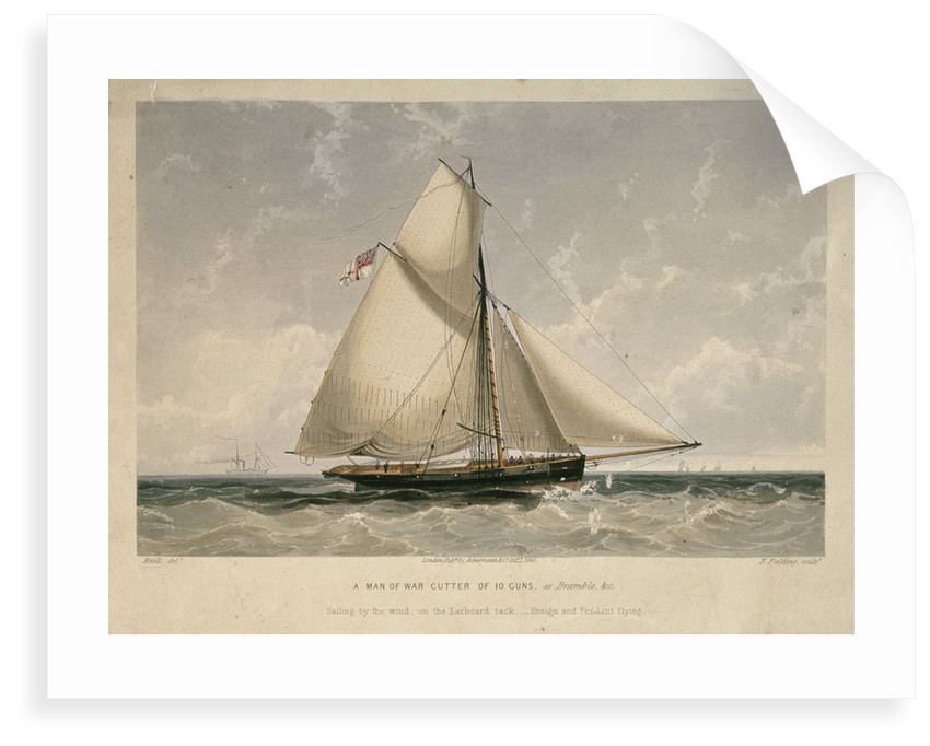 A man-of-war cutter of 10 guns by William Adolphus Knell