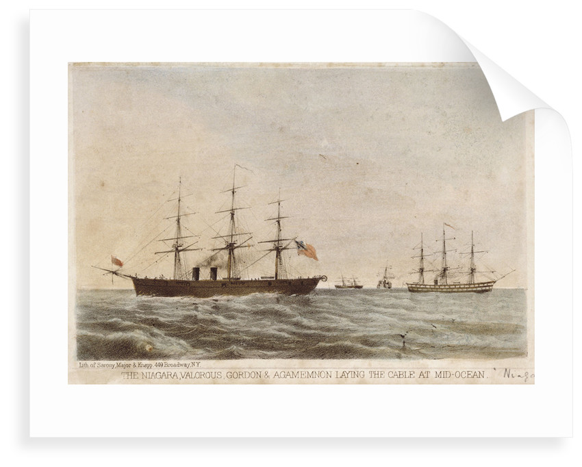 The 'Niagara', 'Valorous', 'Gordon' & 'Agamemnon' laying the cable at mid-ocean by Sarony