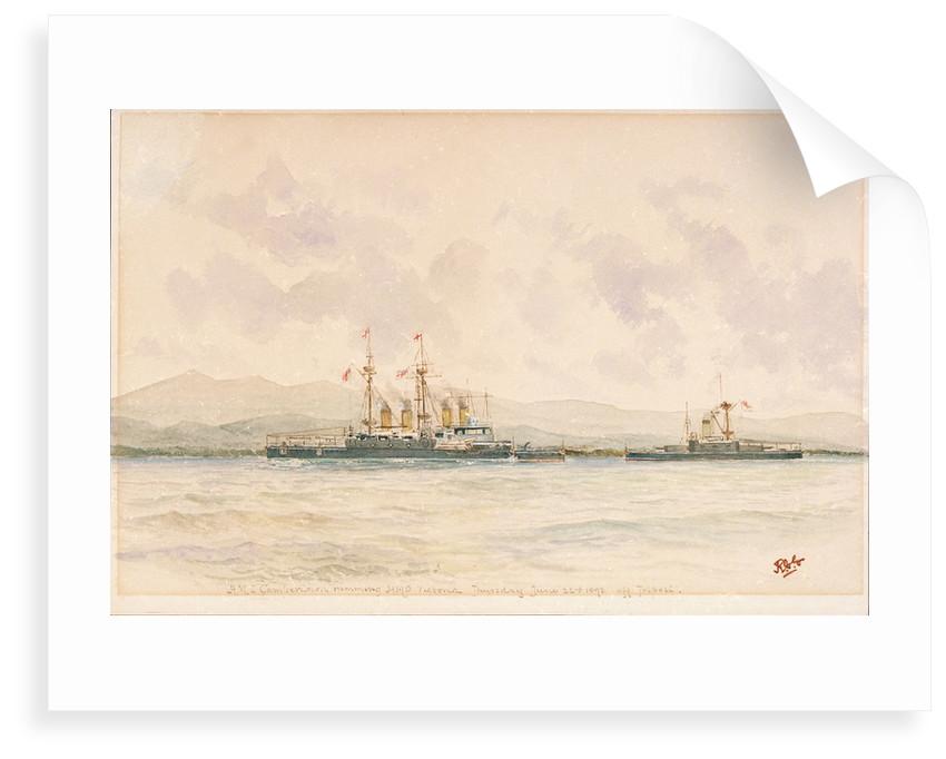HMS 'Camperdown' ramming HMS 'Victoria' off Tripoli, Thursday, 22 June 1893 by Reginald Graham Gregory