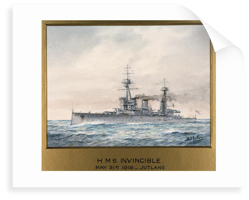 HMS 'Invincible' in Jutland, 31 May 1916 by W.J. Sutton