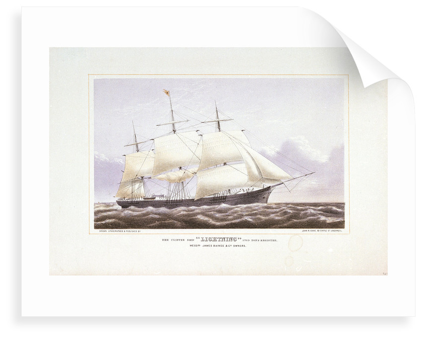 The clipper ship 'Lightning' by John R. Isaac