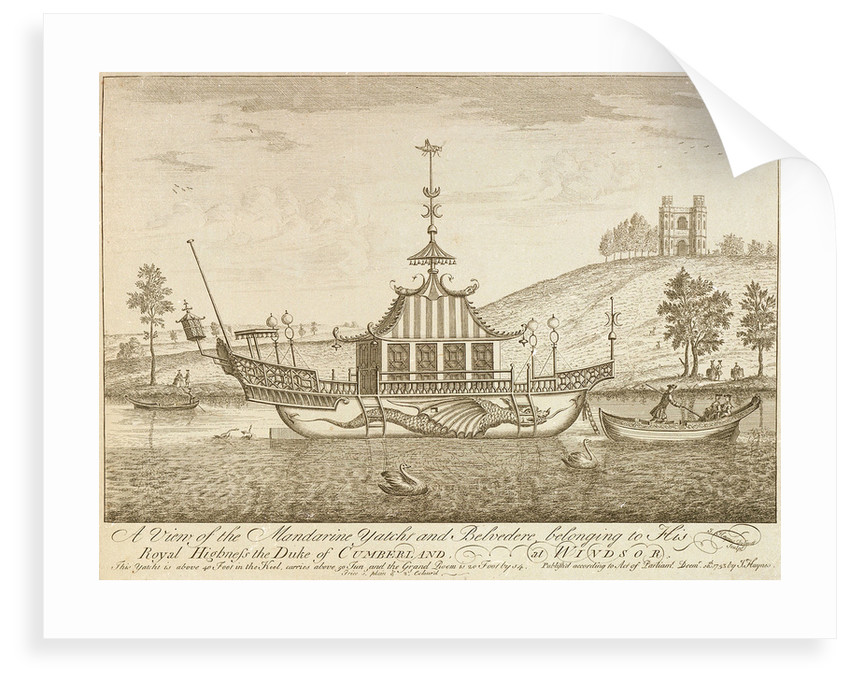 A view of the Mandarine yacht and Belvedere, belonging to His Royal Highness the Duke of Cumberland, at Windsor by J Haynes
