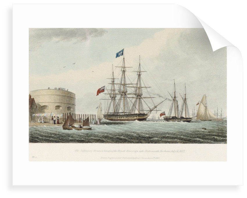 The Lightening Steamer bringing the Royal Sovereign into Portsmouth Harbour, 31 July 1827 by Henry Moses