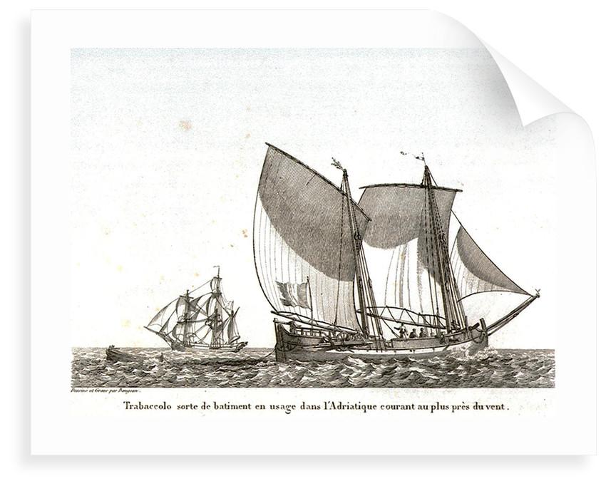 Trabaccolo sorte de batiment en usage dans l' Adriatique courant au plus pres du vent by JJ Baugean