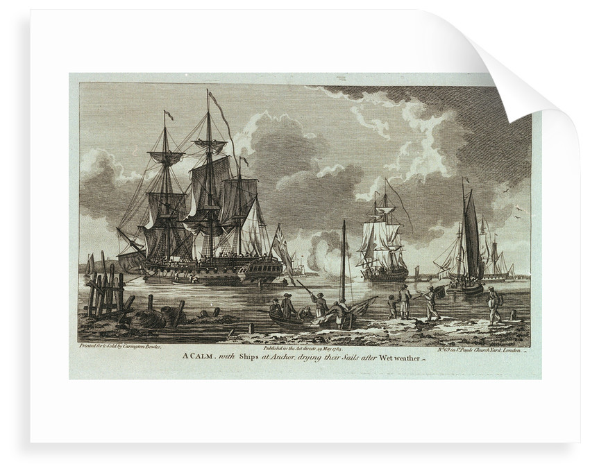 Twelve Views of His Majesty's Ships, &c. in Different Situations. A Calm, with Ships at Anchor, drying their Sails after Wet weather by unknown